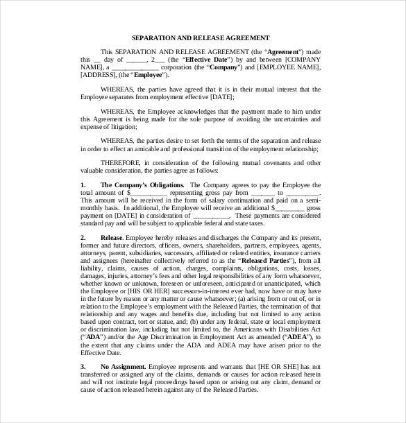 13 Separation Agreement Templates Free Sample Example Format