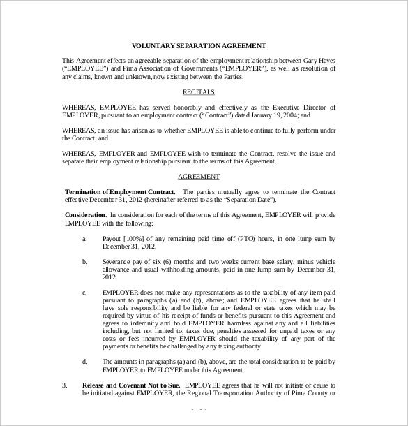 10 Separation Agreement Templates Free Sample Example Format – Severance Agreement Template