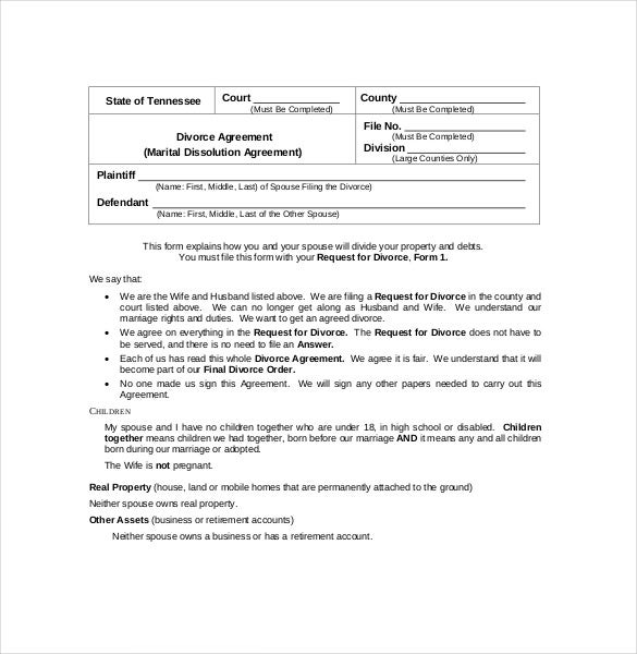 Example Marital Dissolution Agreement PDF Format