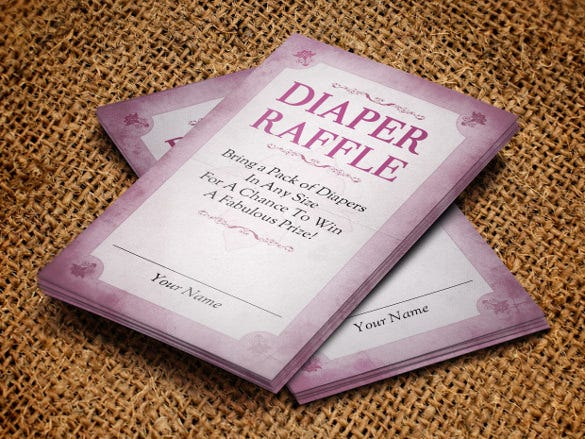 creative modern diaper raffle invitation template