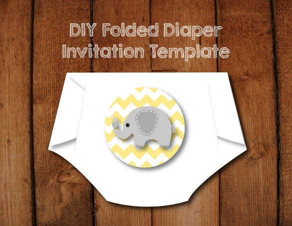 diy pattern diaper invitation template