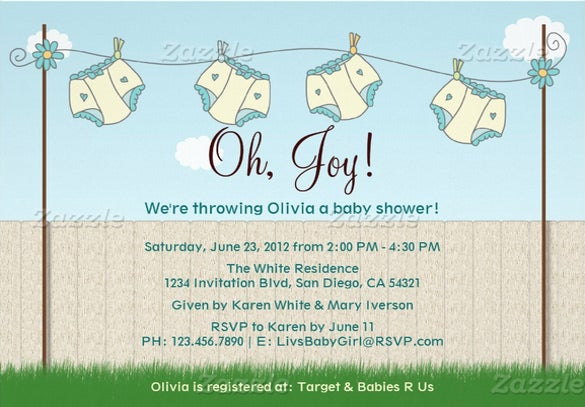 cute diaper invitation template