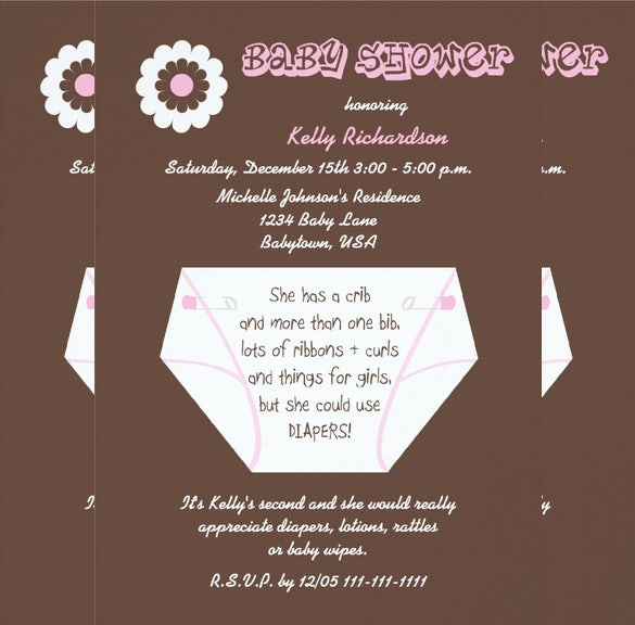 second baby diaper invitation template
