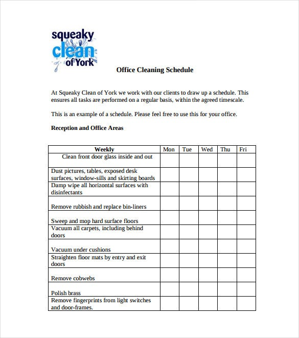 21 bathroom cleaning schedule templates pdf doc free for Free office cleaning checklist templates
