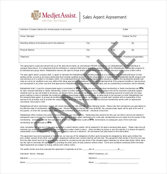 free sales agent agreement template