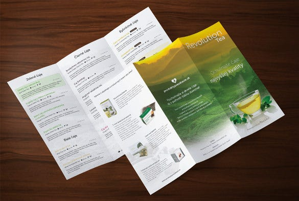 trifold tea drinks menu template download