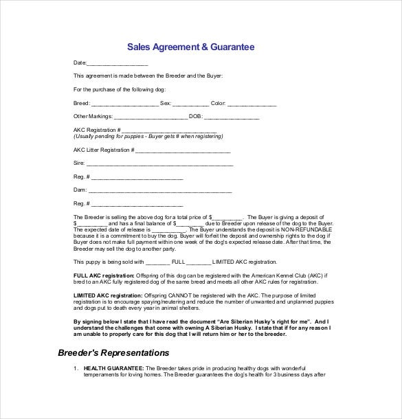 sample sales agreement guarantee