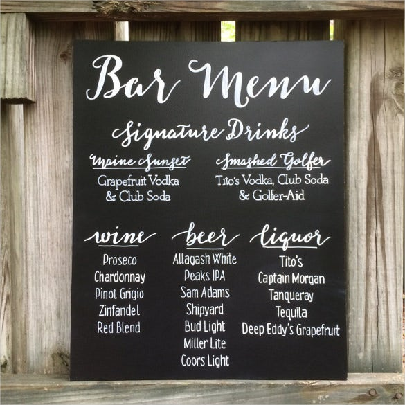 hand painted drink menu on chalkboard template download