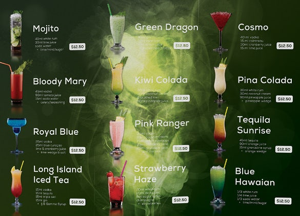 fiery cocktail drinks menu template download