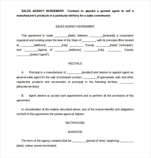 Sales Agent Contract Free Sales Agency Agreement Template Download