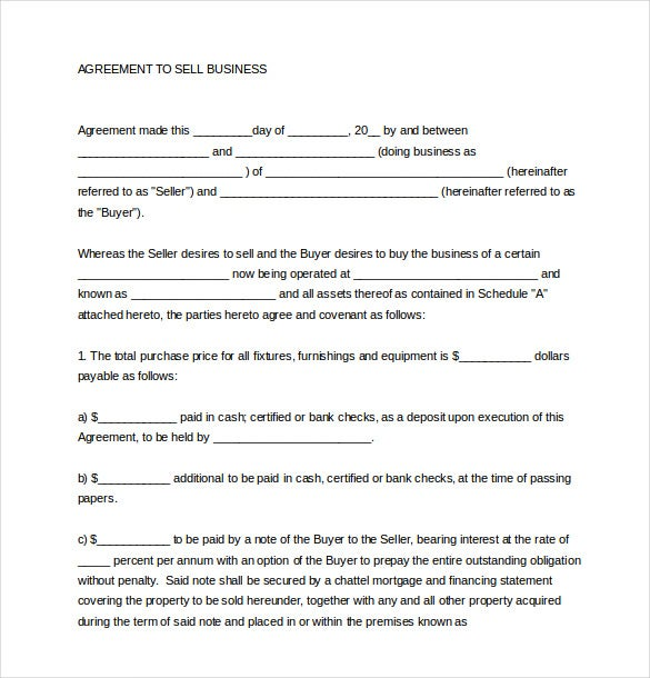 11 Sales Agreement Templates Free Sample Example Format – Free Business Purchase Agreement