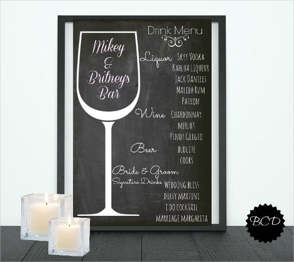 typography wedding drink menu template download