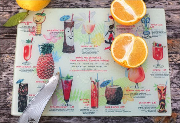 vintage hawaiian tiki drink menu template download