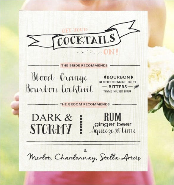 Drink menu templates 30 free psd eps documents for Wedding drink menu template free
