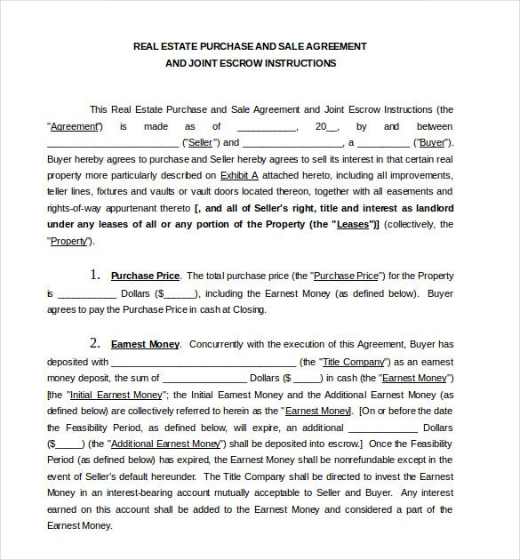 Doc600776 Real Estate Purchase Agreement Template Free Real – Sample Real Estate Purchase Agreement Template