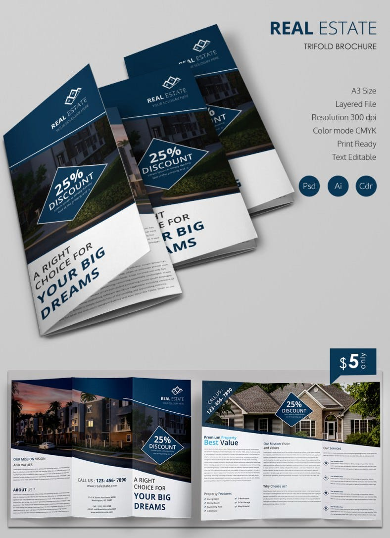 Excellent Real Estate A3 Tri Fold Brochure Template. A3trifoldbrochuremockup
