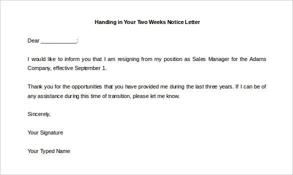 handing in your two weeks notice letter template download