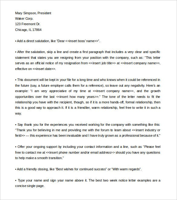best two week notice letter template format download