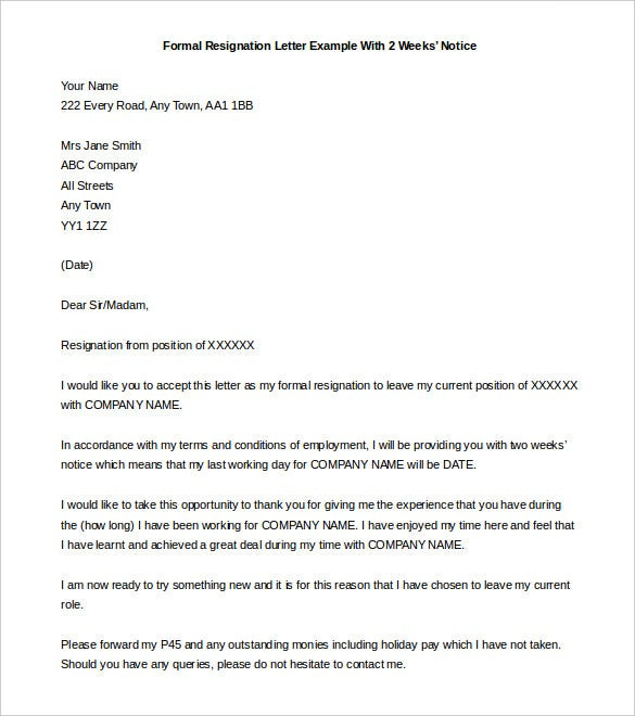 Formal Resignation Letter With 2 Weeks Notice Template  Two Week Notice Letter