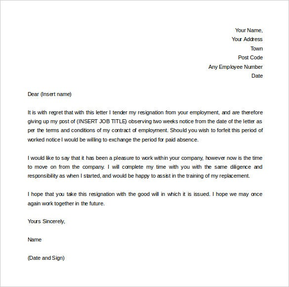 two weeks notice letter template for resignation free download