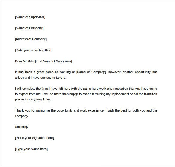 Professional Two Weeks Notice Letter Template
