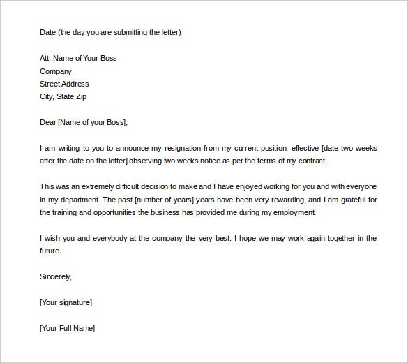 Two Weeks Notice Letter 31 Free Word PDF Documents Download – Free Letter of Resignation Template Word