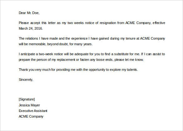Two Weeks Notice Letter   Free Word  Documents Download