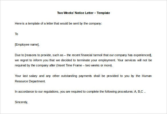 free download two weeks notice letter template editable