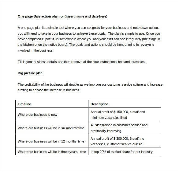 sales action plan template 11 free word excel pdf With one page sales plan template
