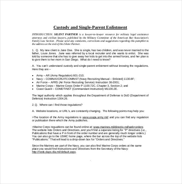 10 custody agreement templates free sample example format appsericanbar in order to file for single parent custody of children one needs the kind of advice contained in this sample document spiritdancerdesigns Image collections