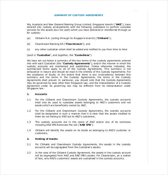 Custody Agreement Templates  Free Sample Example Format