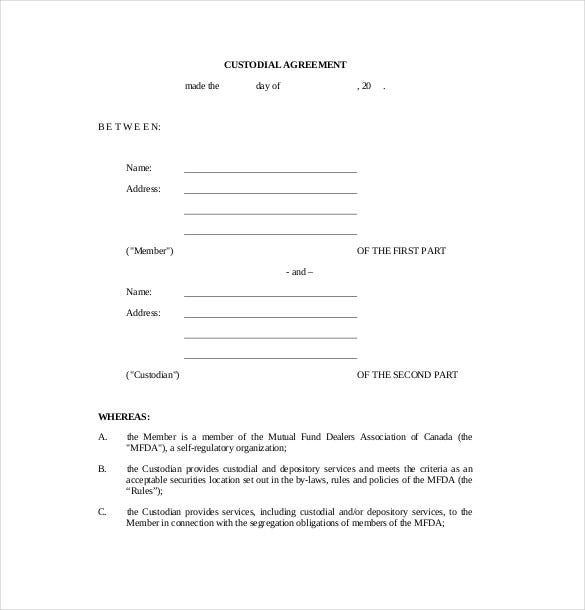 sample custody agreement templte