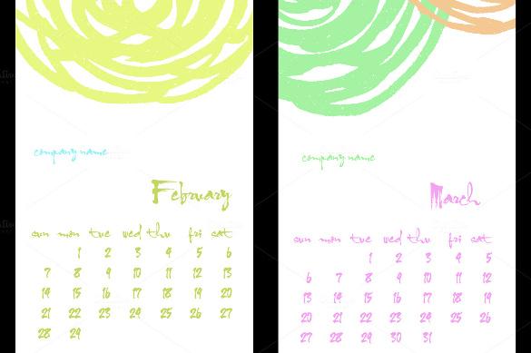 Illustrator Calendar Template Basilosaur