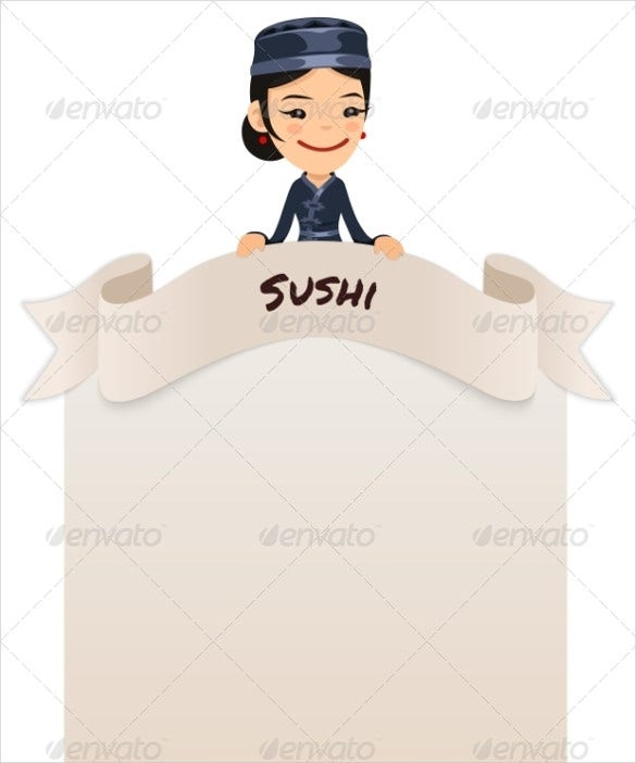 asian female chef looking at blank menu on top template download