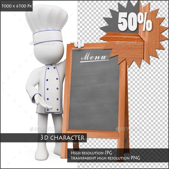 blank menu with a chef template download