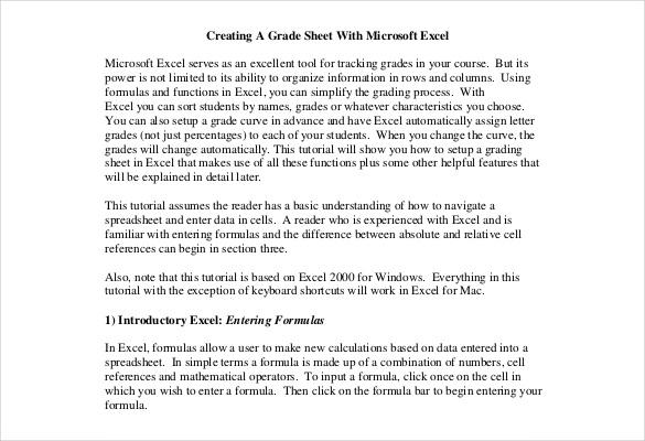 creating grade sheet free pdf format template