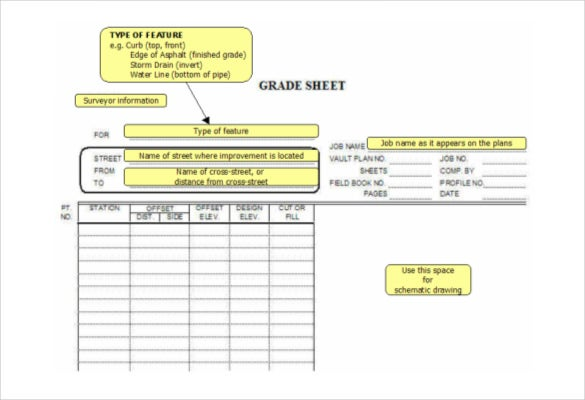 grade sheet template instructions free pdf download