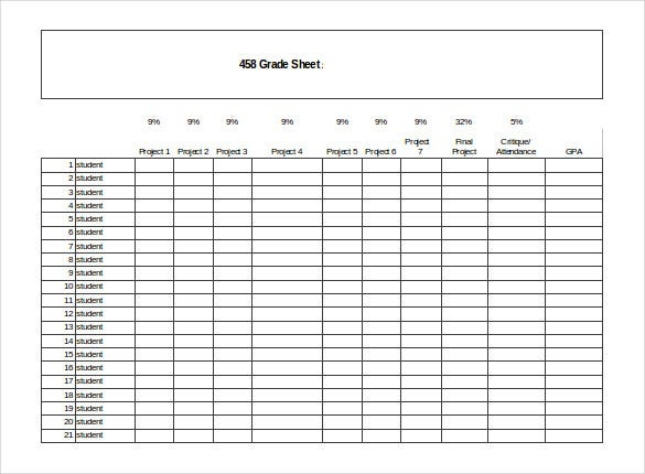 free download grade sheet excel template