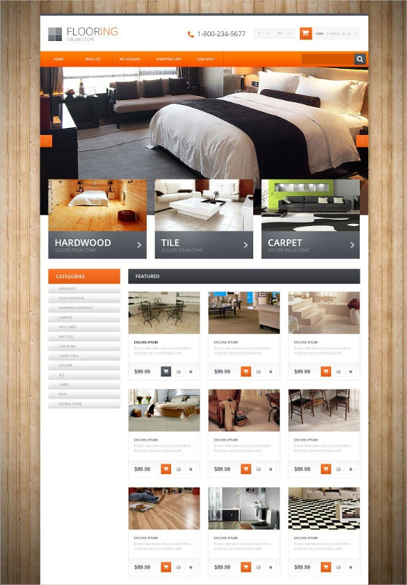 flooring responsive opencart php template
