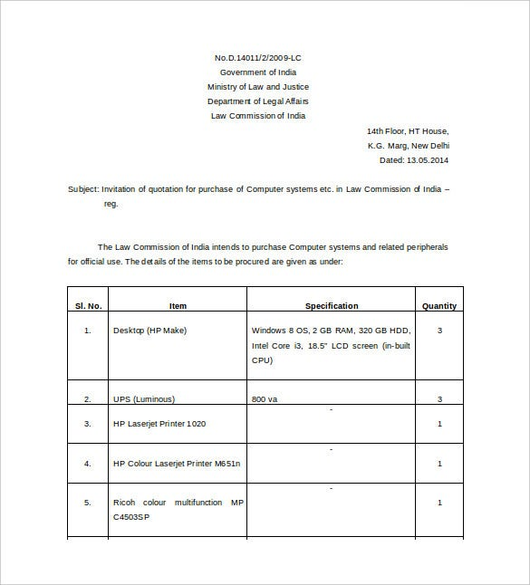 Price Quotation Format Template Sample Form – Quotation Format Template