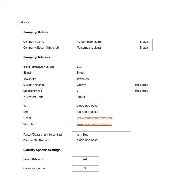 export quotation template