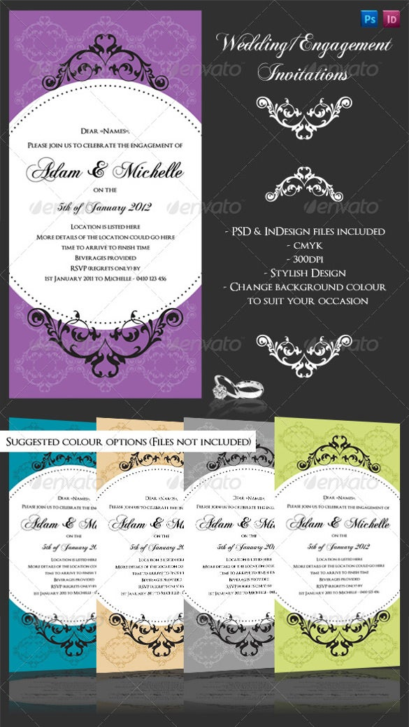 glamorous engagement invitation template