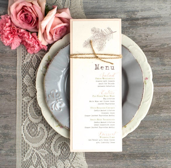 rustic rustic menu cards template download