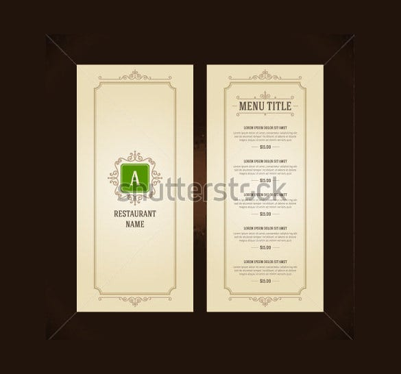 restaurant or cafe menu card vintage style template download1