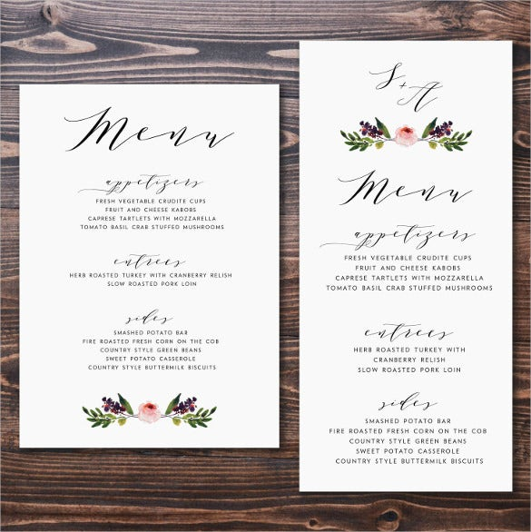 modern wedding menu card template download