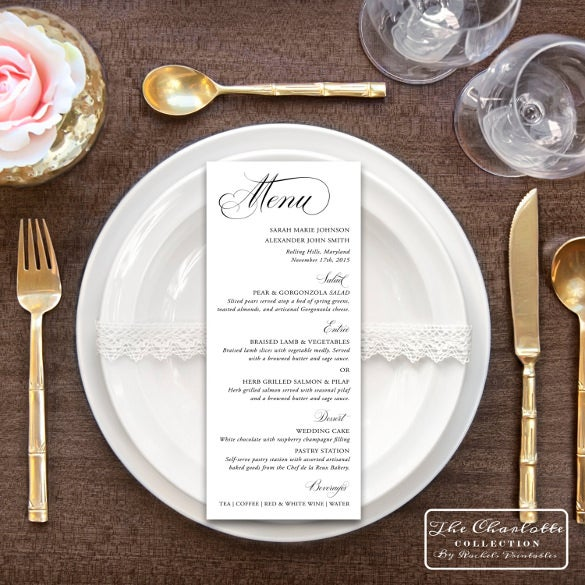 elegant printable wedding menu card template download