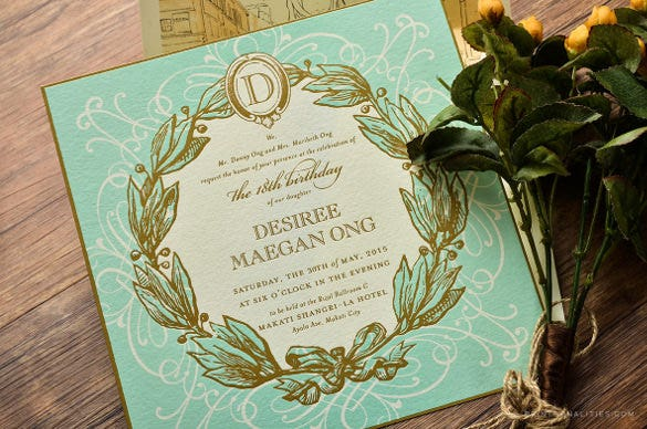 27 debut invitation templates psd ai vector eps free