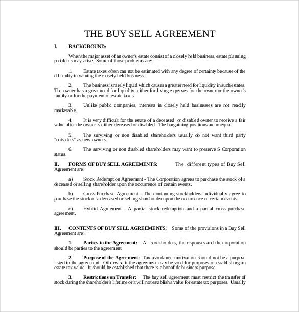 free download buy sell agreement template