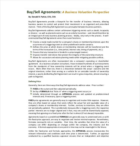 Sample Business Buy Sell Agreement Template