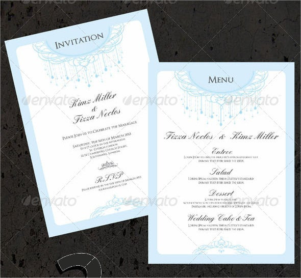 wedding invitation menu cards vector eps template download